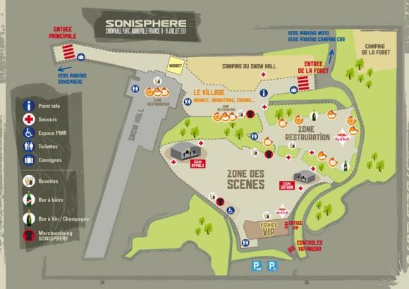 Plan site festival Sonisphère Amnéville