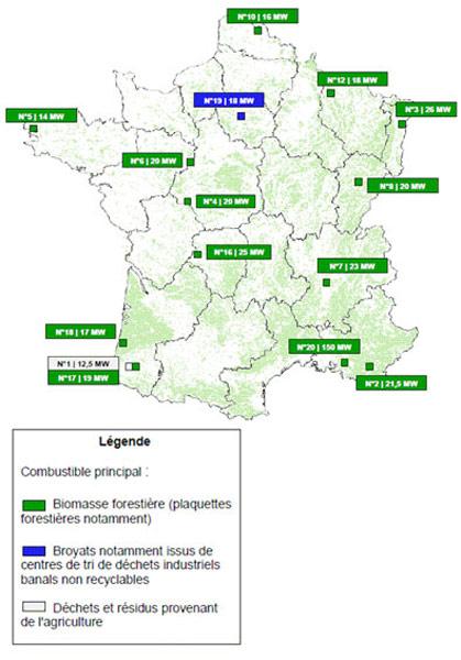 Carte des projets de production d'énergie à partir de biomasse