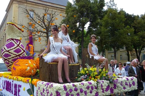 Corso fleuri de la mirabelle en parade dans les rues de Metz