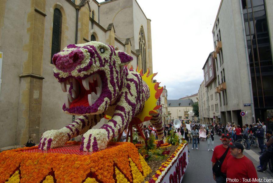 Parcours du défilé des chars de la Mirabelle à Metz