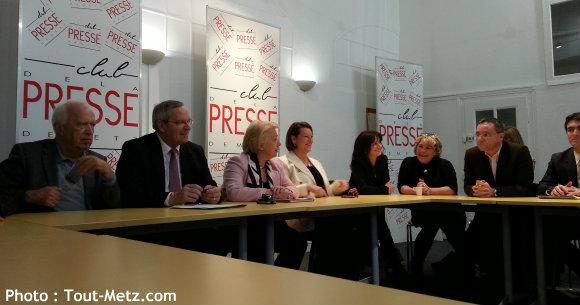 Conférence de presse du 04 janvier 2014 (de g. à d.) : Denis JACQUAT, Patrick WEITEN, Marie-Jo ZIMMERMANN, Nathalie GRIESBECK, Nathalie COLIN-OESTERLE, Martine NICOLAS, Emmanuel LEBEAU, Jérémy ALDRIN