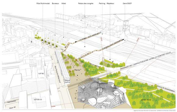Les abords directs de Pompidou Metz, avec la position des éléments futurs et existants. Crédits : Agence Nicolas Michelin et associés / ANMA Architectes Urbanistes