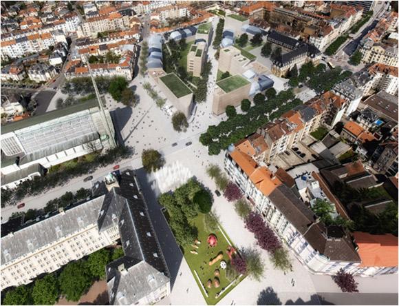 Le futur quartier Ste Thérèse vue du ciel . Image : ville de Metz