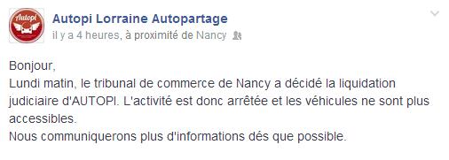 La liquidation judiciaire de Autopi a été officialisée sur la page facebook de l'entreprise ce mercredi 2 juillet 2014.