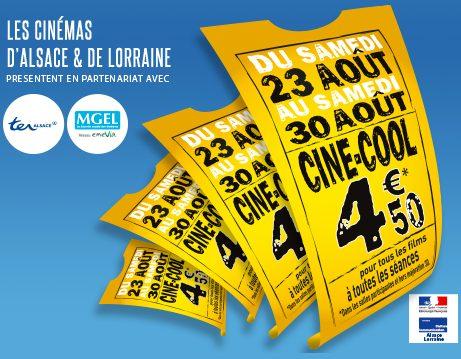 La place de cinéma à 4,50€ avec ciné-cool : lesquels participent en Lorraine ?