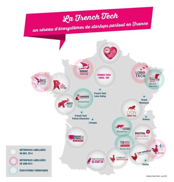 La carte définitive des métropoles labellisées French Tech