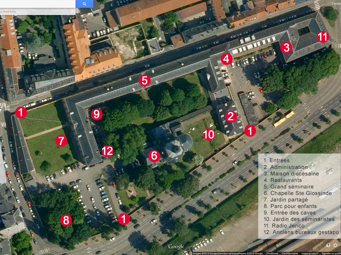 Utilisez ce plan pour repérer dans l'espace la position des différents éléments présentés dans ce photo reportage. Source image aérienne : Google Maps