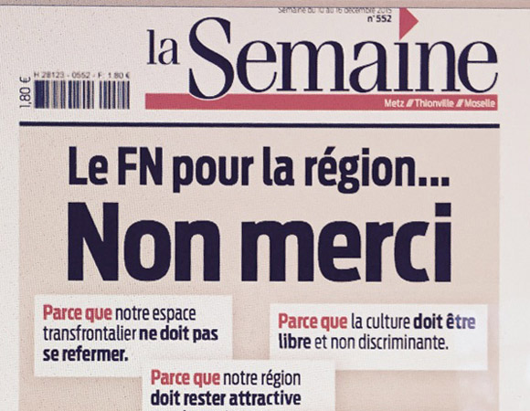 Régionales 2015 dans le Grand Est  : la Une engagée du journal La Semaine