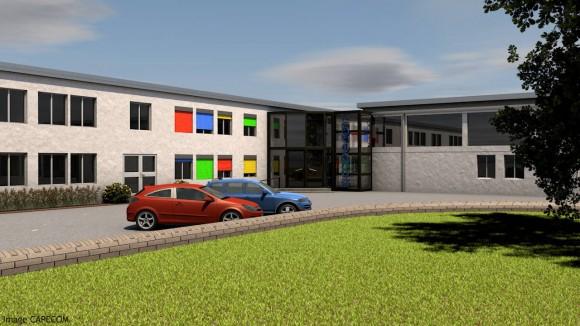 Outre la rénovation et la mise aux normes, deux bâtiments existants seront reliés par une structure vitrée. Source : CAPECOM. Cliquez sur l'image pour l'agrandir.