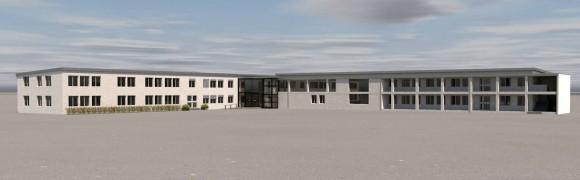Le futur bâtiment de CAPECOM, qui reprend 3 bâtiments existants. Source : CAPECOM - Cliquez sur l'image pour l'agrandir.