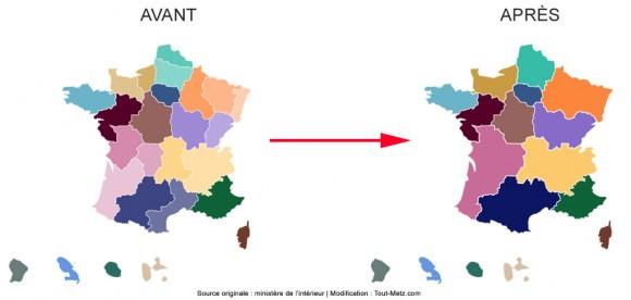 Elections régionales 2015 : la carte des régions avant et après le scrutin. Cliquez sur l'image pour l'agrandir