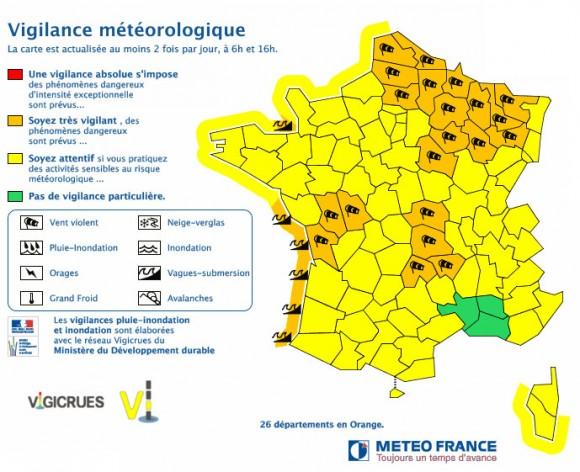 La carte de vigilance publiée par Météo France ce 9 février 2016.