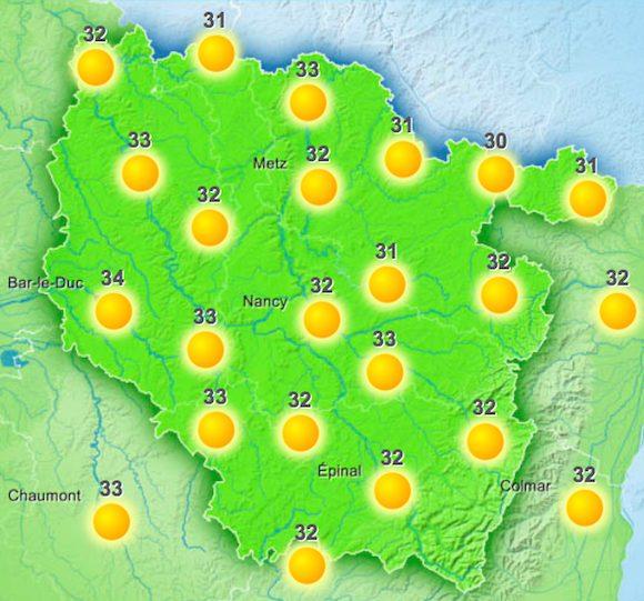 La météo du mercredi 20 juillet 2016 jusque 14h - Source : Météo France