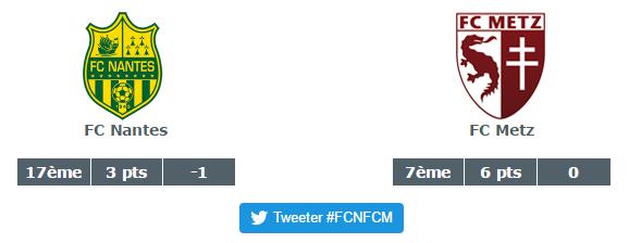 FC Nantes vs FC Metz ce 11 septembre 2016
