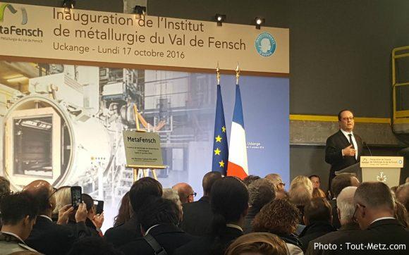 François Hollande prononce un discours à Uckange le 17 octobre 2016, pour l'inauguration du premier équipement de Metafensch.
