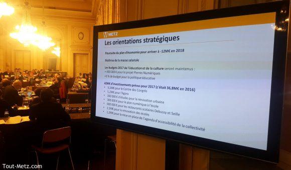 Débat d'Orientation du budget de 2017 pour a ville de Metz au conseil municipal du 24 novembre 2016.