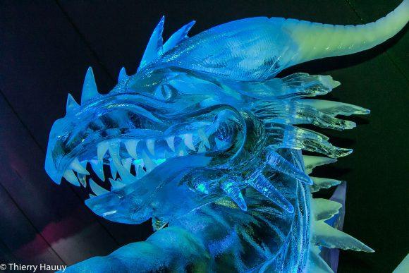 Le grand dragon, l'une des créatures magiques de la féerie des glaces à Metz cette année