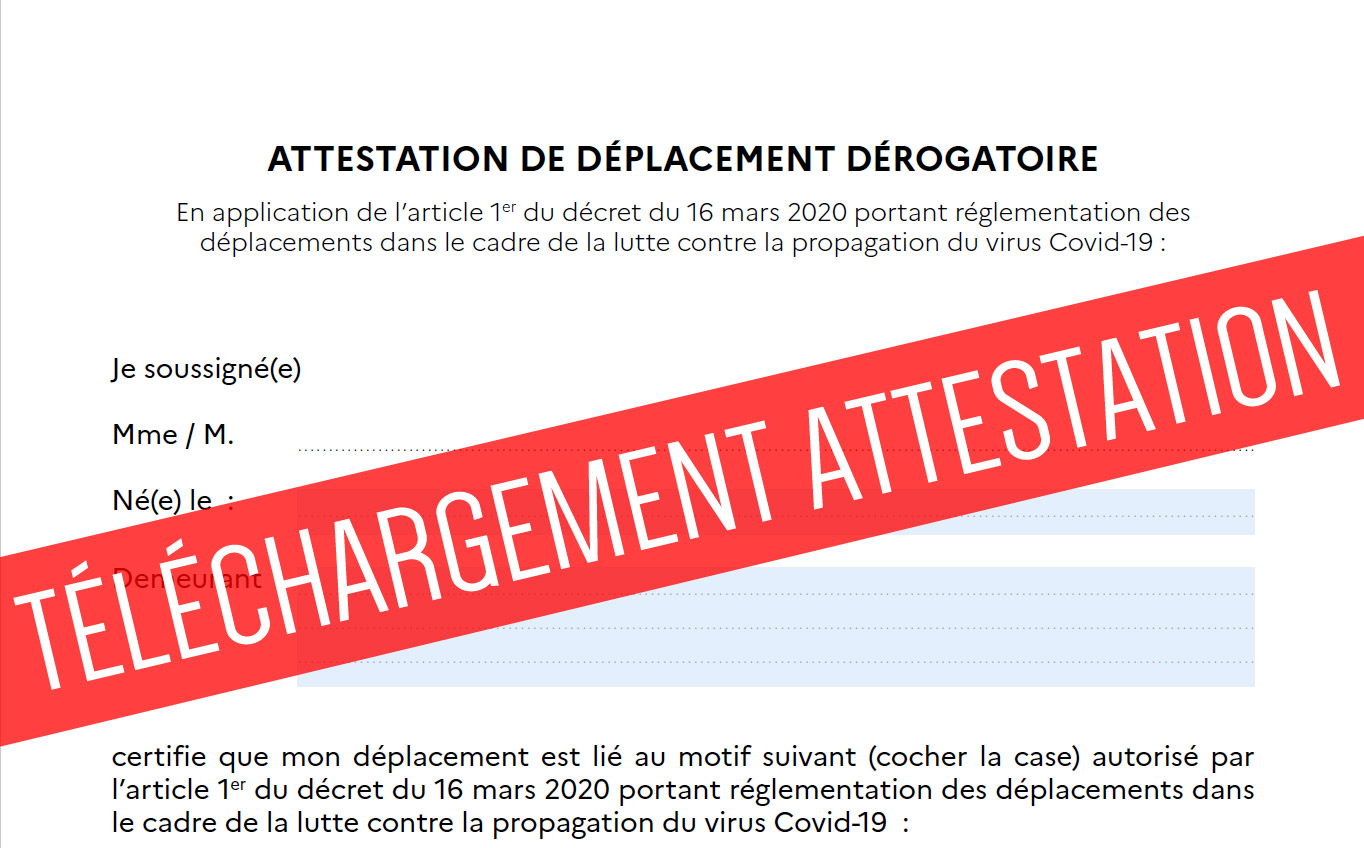 Telecharger La Nouvelle Attestation De Deplacement Coronavirus 24 03 20